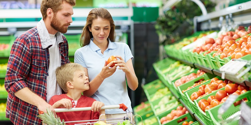 Modern consumers visiting grocery store