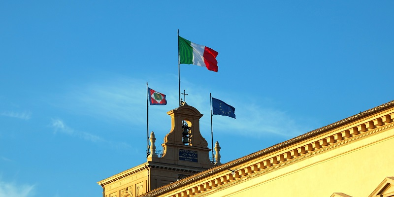 Italian and European flag in the Quirinale Palace headquartier of President of Republic of Italy in Rome