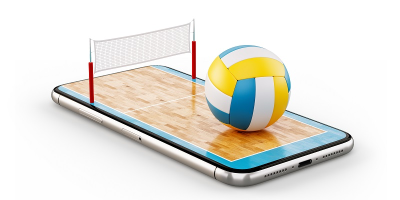 Unusual 3d illustration of a volleyball ball and on court on a smartphone screen. Watching volleyball and betting online concept. Isolated