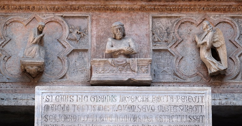 VERONA, ITALY - MAY 27: Tomb of Cangrande della Scala, Scaliger tombs, a group of five gothic funerary monuments celebrating the Scaliger family in Verona, Italy, on May 27, 2017.